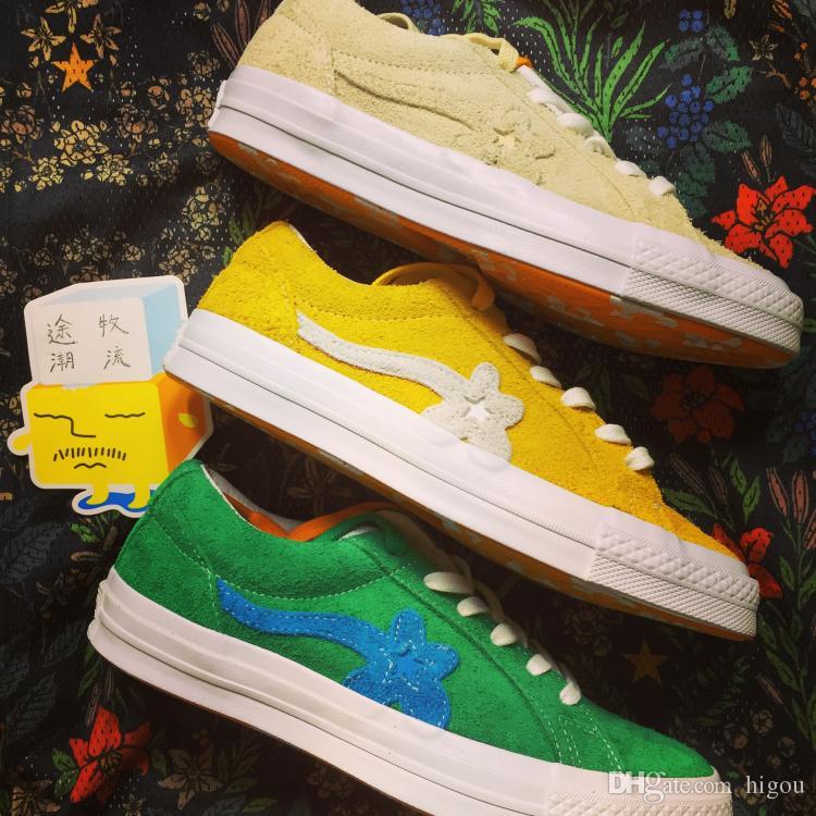 369e56c63e29 Compre 2017 Converse Uma Estrela X Tyler Golfe Le Fleur Chuck Tay Lor Verde  Flores Casuais Moda Fur Designer Correndo Conversa Sapatos Sneakers 35 44 De  ...