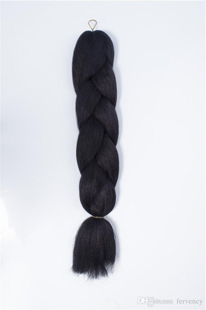 VERVES Kanekalon Jumbo Ombre Trenzado Trenza de cabello 100 g / pieza Extensiones de trenzado de fibra sintética de dos tonos de alta temperatura