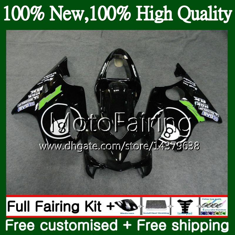 Cuerpo para HONDA CBR600FS CBR600F4i CBR600 F4i 01 02 03 43MF12 CBR 600F4i CBR600 FS CBR 600 F4i 2001 2002 2003 Fairing Bodywork 8ball negro