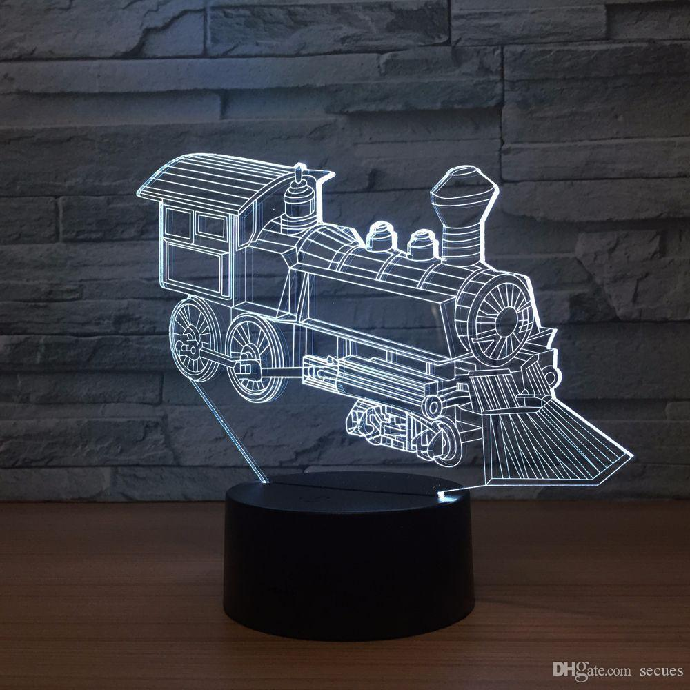 Train Engine 3D Optical Illusion Lamp Night Light DC 5V USB Powered AA Battery Wholesale Dropshipping