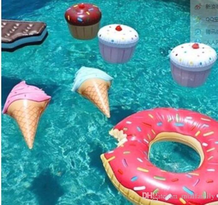 Плавать Кольцо воды бассейн воды весело плавать игрушки надувные день рождения мороженое форма смешные плавательный инструмент Бесплатная доставка