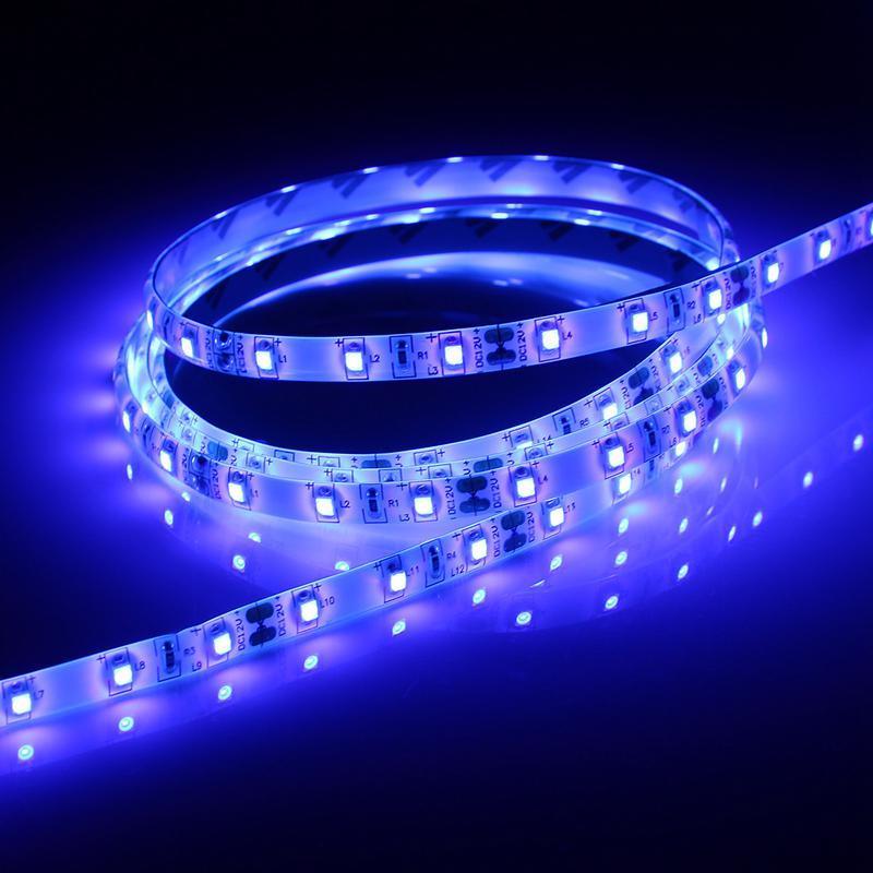 3528 SMD 0.5 / 1/2/3/4 / 5M 60LED Lampe UV Lumière ultraviolette Violet Led Bande Lumière Étanche IP65 Noir Lampe DC12V