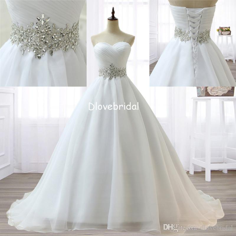 Discount Sparkly Crystal Princess White Wedding Dresses Romantic