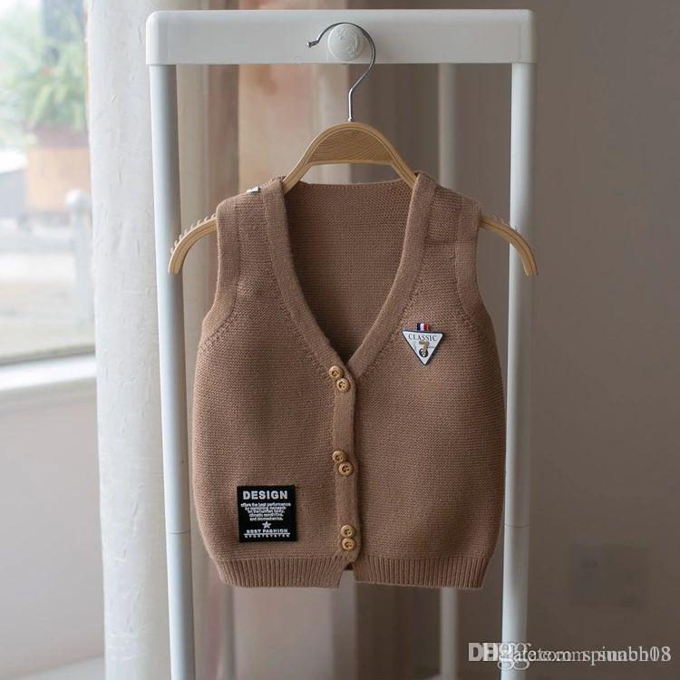 b0d5a0249309 New Autumn Baby Boys Knitted Waistcoat Cardigan Sleeveless V Neck ...