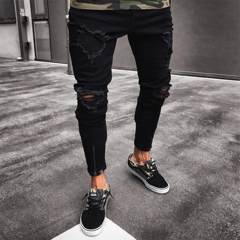 48de7565178e6 2018 nuevos hombres de moda rasgados pantalones vaqueros flacos Destroyed  Frayed Slim Fit Denim Pant hombres casuales agujero delgado cremallera jeans  ...