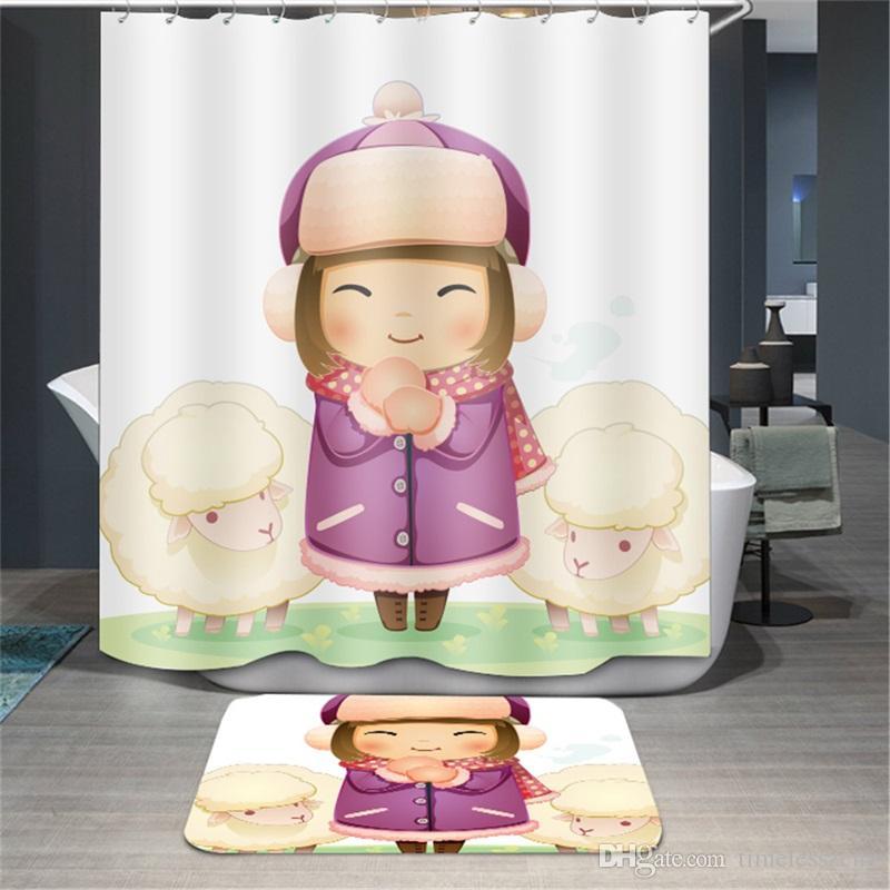 Dos desenhos animados impresso cortina de chuveiro 180 * 180 cm poliéster banheiro cortinas flor menina dos desenhos animados urso padrão de banho cortina à prova d 'água