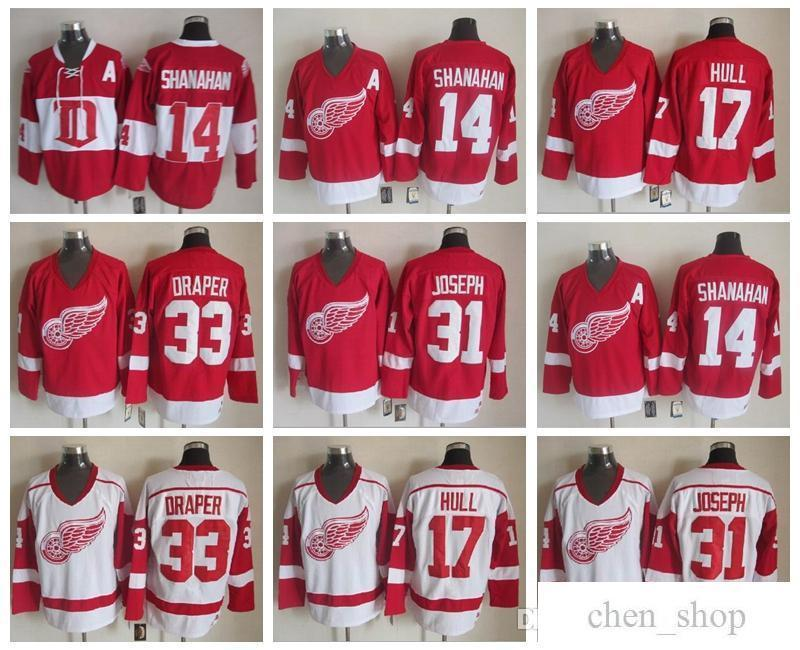 a6f3c19a 2019 Detroit Red Wings 17 Brett Hull Jersey Man 33 Kris Draper 31 Curtis  Joseph 14 Brendan Shanahan Red White Vintage Classic 75th From Chen_shop,  ...