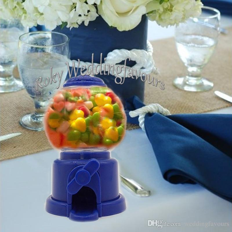 Mini Plastic Gumball Machine Box Candy Chocolate Holder Wedding Favors Bridal Shower Sweet Table Decoration Supplies 18th Birthday Party Decorations