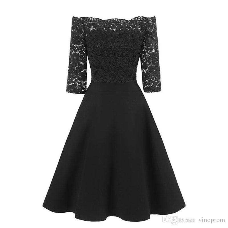 2018 Autumn Women Elegant See Through Off Shoulder Skater Lace Party Cocktail Mother of Bride Bodycon Dress