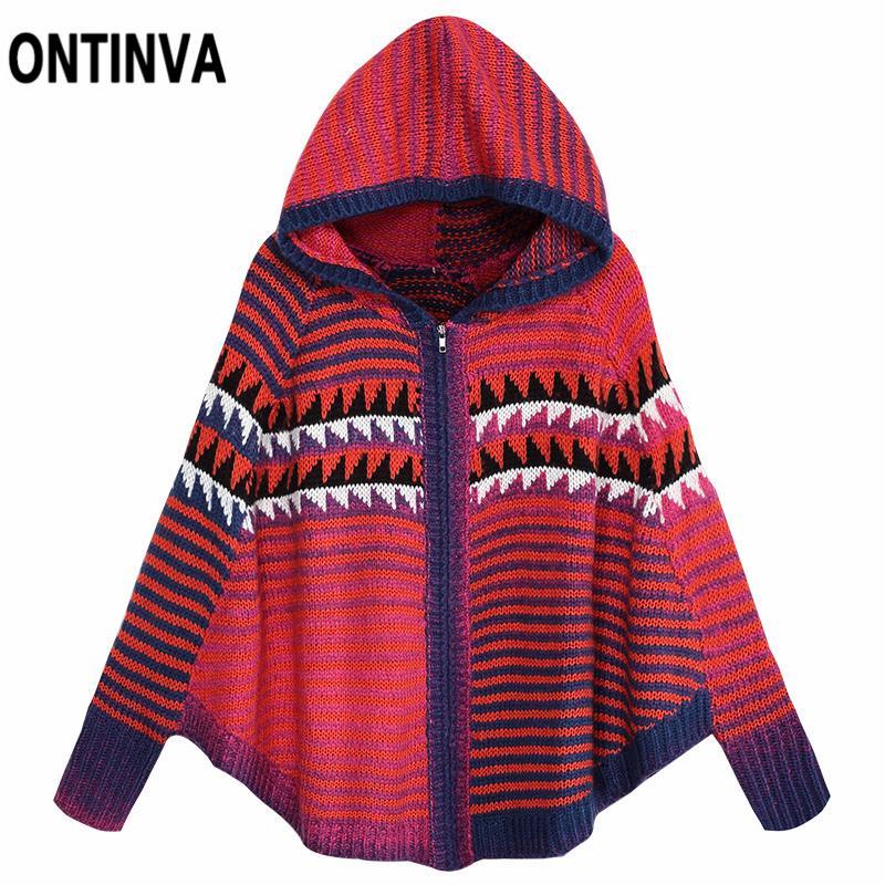 f073b3ec60ed 2019 Women Oversized New Knitting Sweater Ponchos Capes Batwing ...