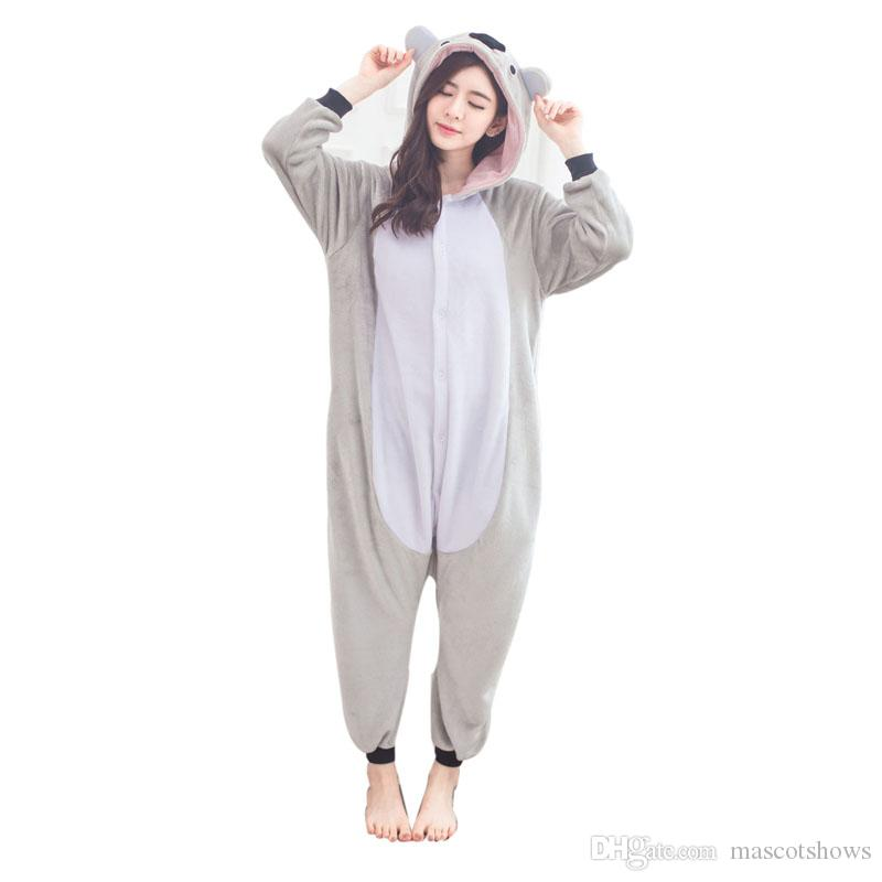 c3500f89ee55 Cute Koala Flannel Women Pajamas Koala Kigurumi Animal Kangaroo Adult Onesies  Women Pajamas For Halloween Cosplay Sleepwear Pyjamas Best Group Halloween  ...