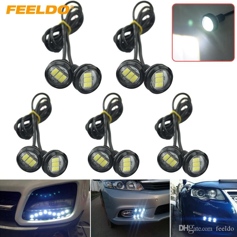 FEELDO 10PCS Coche blanco 3W 23mm Lente ultrafino 5630 3SMD LED Eagle Eye Tail light Lámpara trasera de respaldo DRL Light # 1423