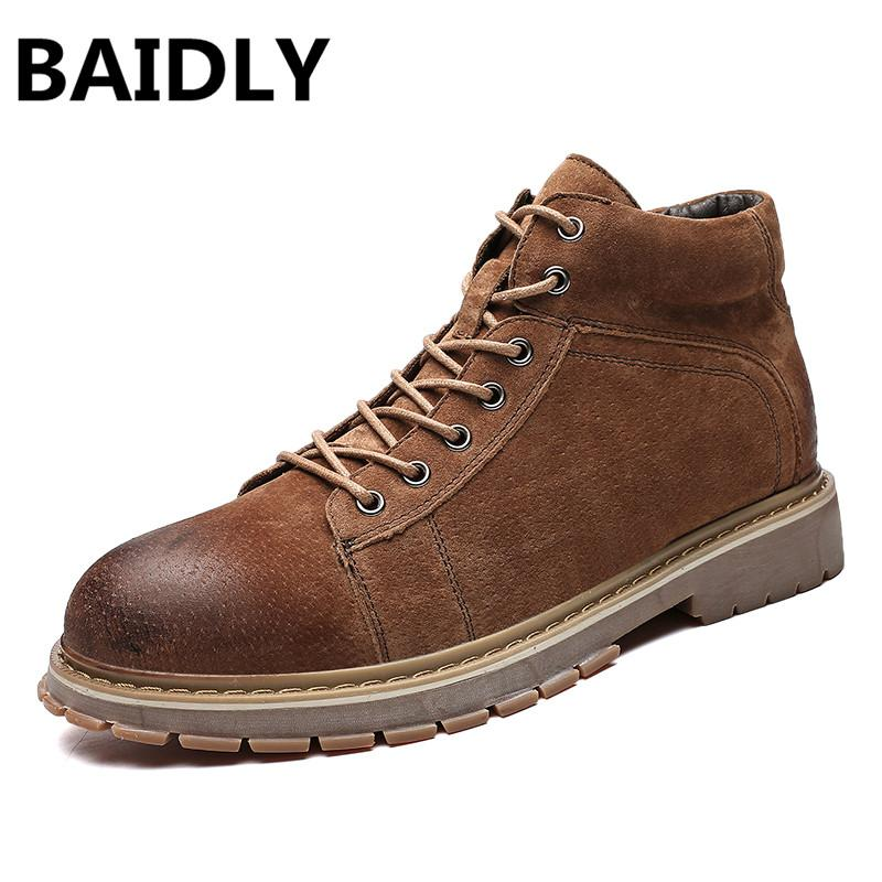65e9d61de404f Classic Boots Men New Brown Ankle Boot Genuine Leather Martin Boots  Handmade Work Shoes Autumn Winter Male Footwear Shoes