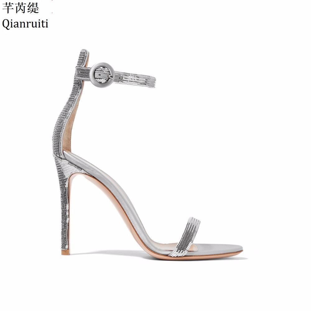 d22b3e7d4 ... Plata Con Lentejuelas Zapatos De Tacón De Aguja Zapatos De Mujer Sexy  Dedo Del Pie Abierto Tacones Altos Sandalias De Las Mujeres Correa De La  Hebilla ...