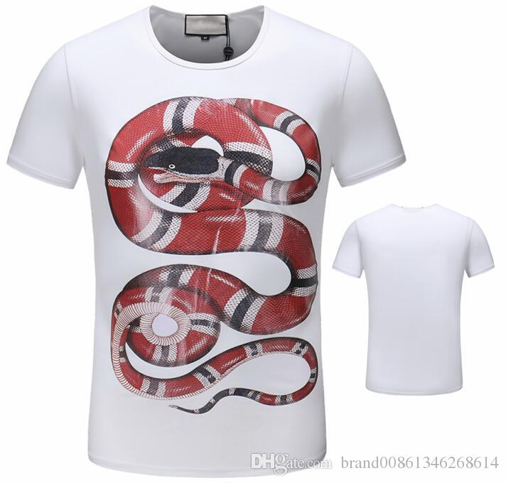 Fashion Brand 3d snake print t-shirt pure cotton Casual short sleeve tees for man and woman brand t shirts drop shipping