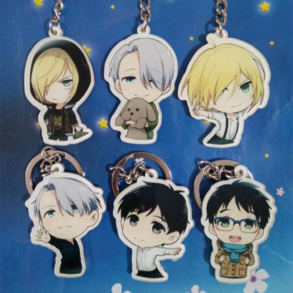 New cute japanese anime yuri on keychain victor nikiforov yuri katsuki pendant baby toys for children gift key holders key covers from lantana