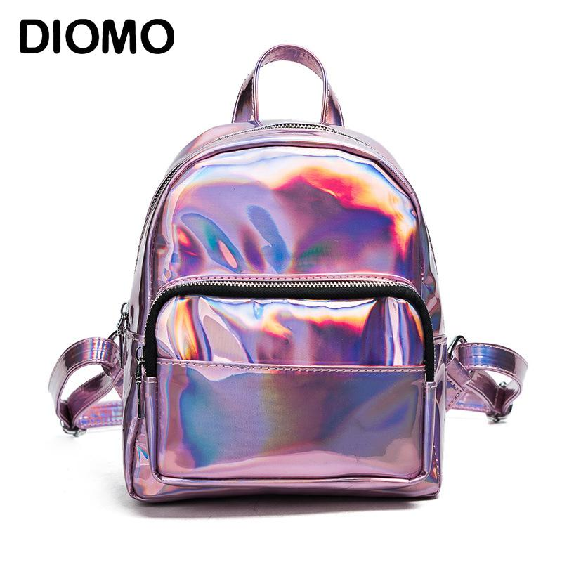 59242cad789 DIOMO Mini Backpack Women Holographic Bag Hologram Female Cute Small  Backpack For Girls Back Bag Sier Backpacks For Kids Backpack With Wheels  From ...