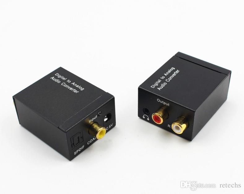 Adaptador Conversor De Áudio Digital para Analógico RCA Coaxial Óptica Toslink Sinal para Analógico Conversor de Áudio RCA com cabo de Fible embalagem de varejo