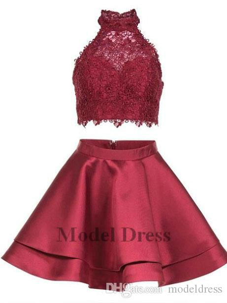 Vestidos de fiesta de dos piezas de Hater Lace 2018 A Line Ruffles Light Blue Pink Silver Vestidos de fiesta cortos Robes de cóctel