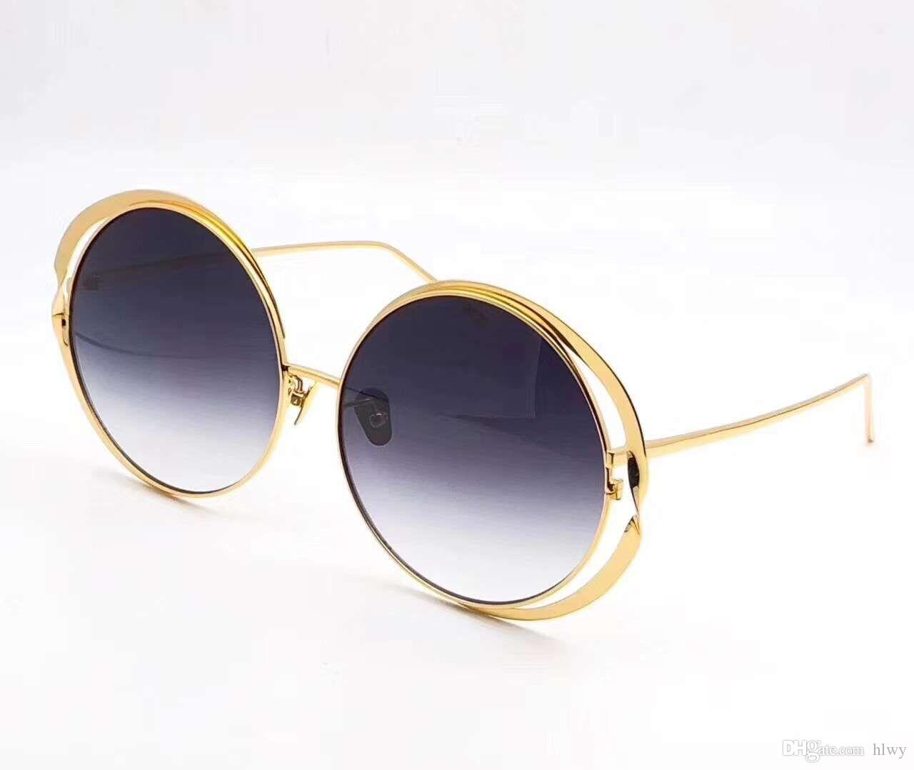 Linda Farrow Luxe LFL 659 Óculos De Sol Redondos Espelho de Ouro de Ouro 56mm Mulheres Designer de Marca de Óculos De Sol Novo caixa de sagacidade