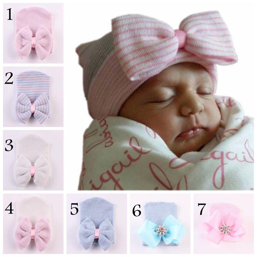 2ef289e7c04d9e 2019 Baby Infant Crochet Bow Hats Cute Baby Girl Soft Knitting Hedging Caps  With Big Bows Autumn Winter Warm Tire Cotton Cap For Newborn From  Sophia120, ...