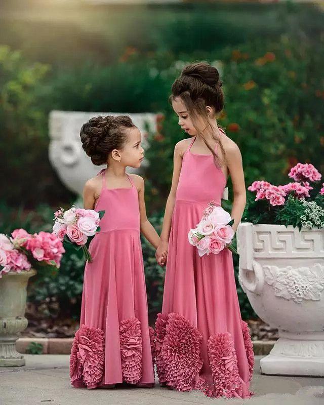 15d3006d1a4 Hot Pink Halter Flower Girl Dresses For Wedding Ruffles Flowers Chiffon  Girls Pageant Gowns Cheap Junior Bridesmaid Party Dresses Long Flower Girl  Dresses ...