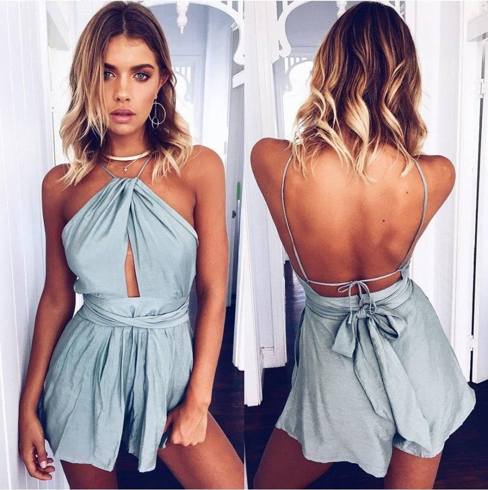 8415266c6311 2019 Casual Camis Playsuit Cut Out Sexy Bodysuit Women Shorts Boho Jumpsuit  Vestido Sash Tie Summer Female Halter Beach Resort Romper From Wangyicom