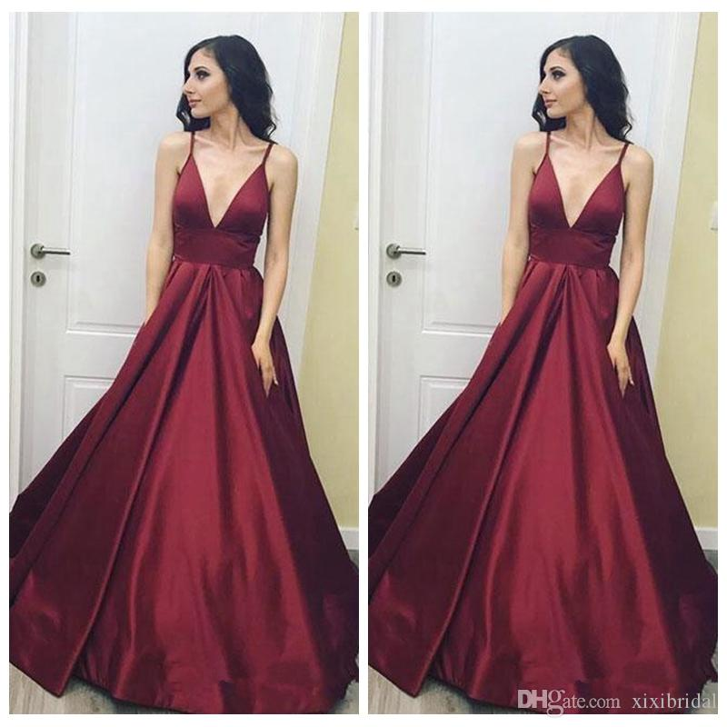2018 Burgundy Simple V Neck Prom Dresses Sexy Spaghetti Strap Sweep Train A  Line Stain Formal Evening Wear Long Party Gowns Baby Blue Prom Dresses  Classy ... 5fd3f4cc3