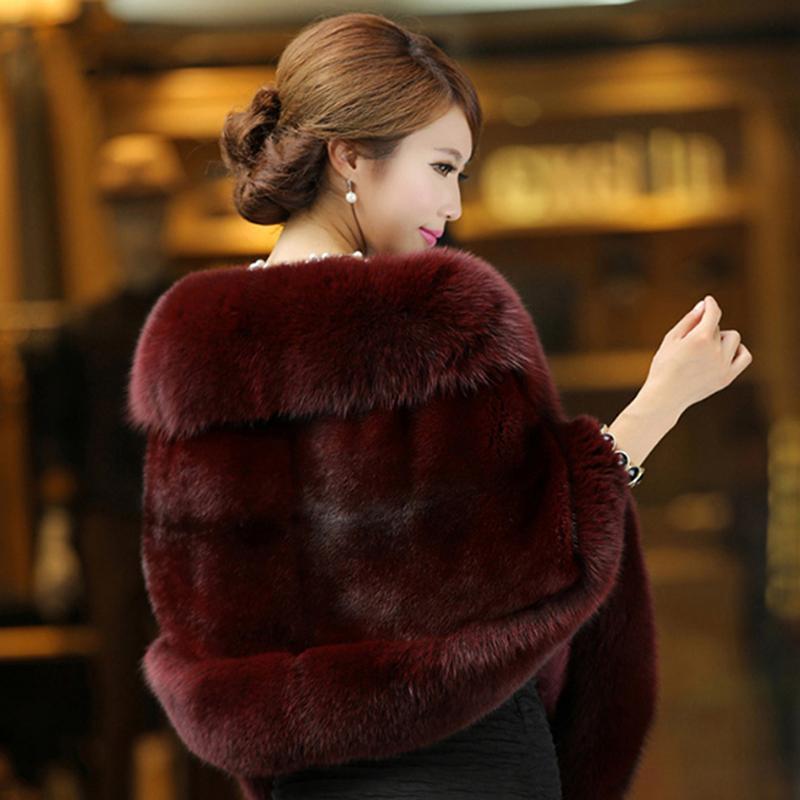 Luxo Elegante Das Mulheres Faux Vison Cashmere Inverno Quente Casaco De Pele Xale Cape Moda Sólida Senhoras Poncho De Pele Pashmina Poncho