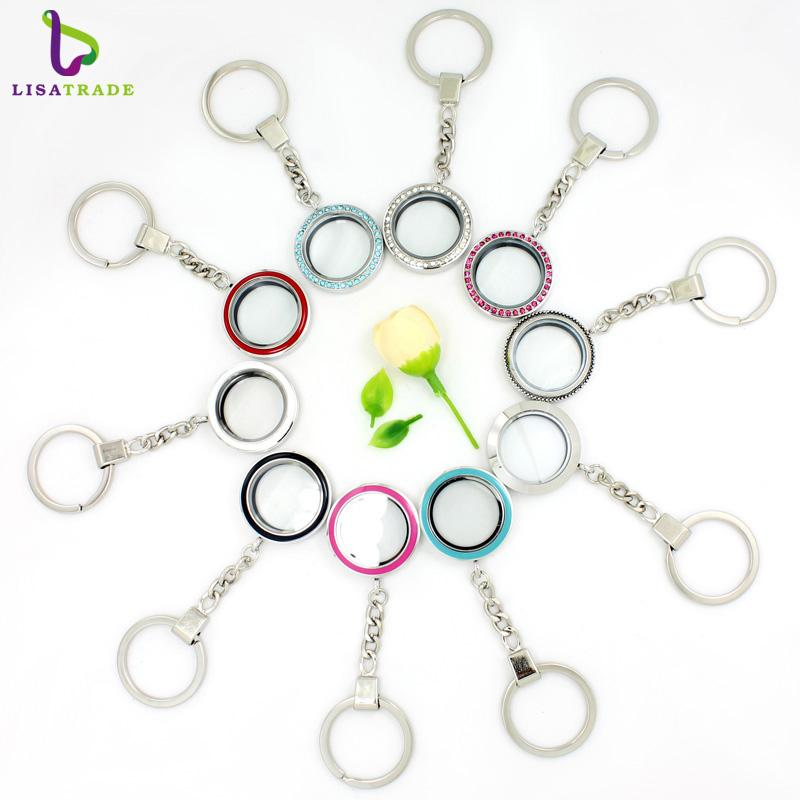 keychain fashion 2017 Fashion 5pcs/lot 30mm Round twist living locket keychains high quality floating charm locket Zinc Alloy LSFK15-1*5-8*5
