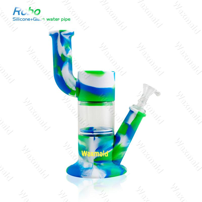 Water Pipe Glass Bong Waxmaid Robo Silicone Dab Rig Easy to Clean Oil Rig Smoking Pipe with Glass Bowl Factory Discount