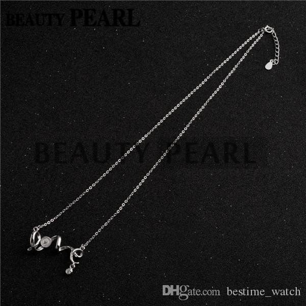 Bulk of Necklace Blank for Pearls Mounting LOVE 925 Sterling Silver Link Chain Base
