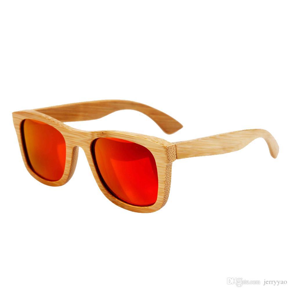 2018 Womens Mens Bambu Trä Solglasögon Naturligt bambu Glasögon med beläggning Mirrored UV 400 Skyddslinser