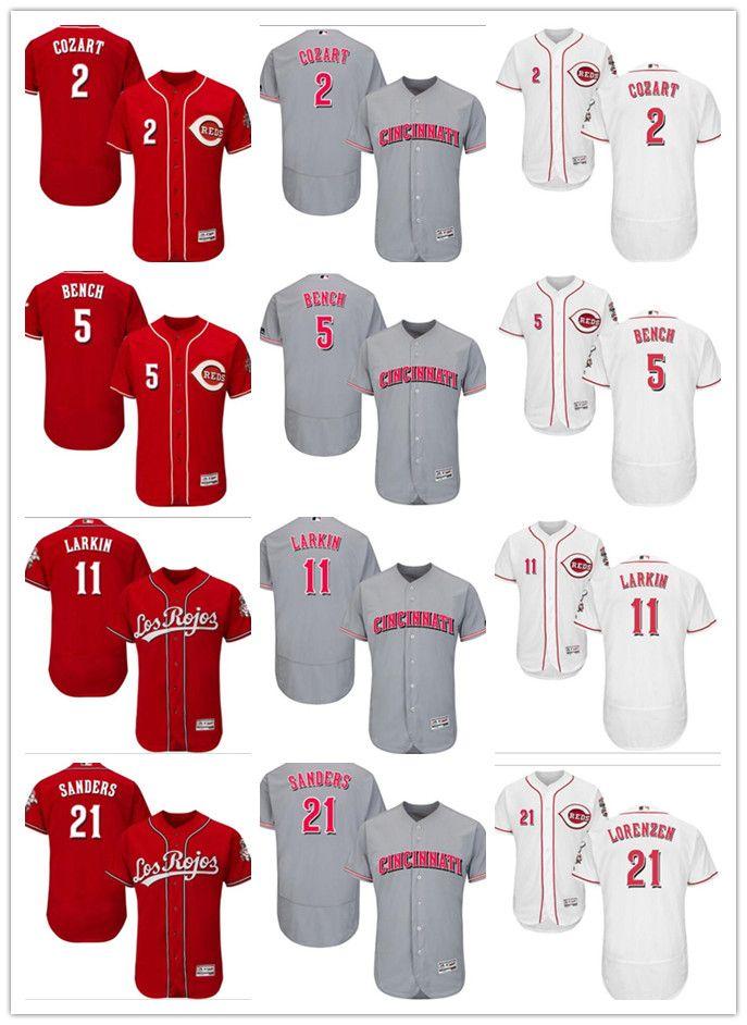 Cheap Men Women Cincinnati Reds Jersey  2 Zack Cozart 5 Johnny Bench 11  Barry Larkin 21 Reggie Sanders 21 Michael Lorenzen Red Baseball Jerseys 9ac492a27