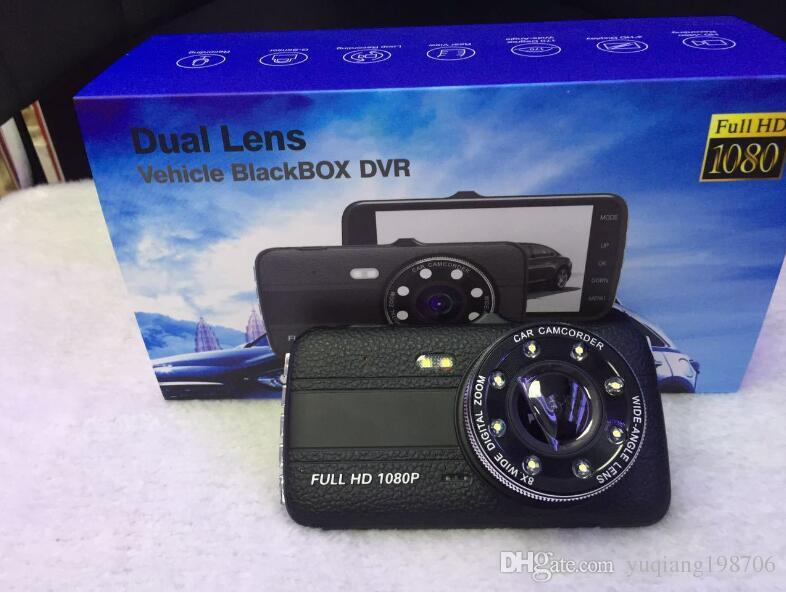 "1080P full HD car DVR camera 4"" Inch screen 170° view angle starlight night vision 2Ch dual cams parking monitor motion detection G-sensor"