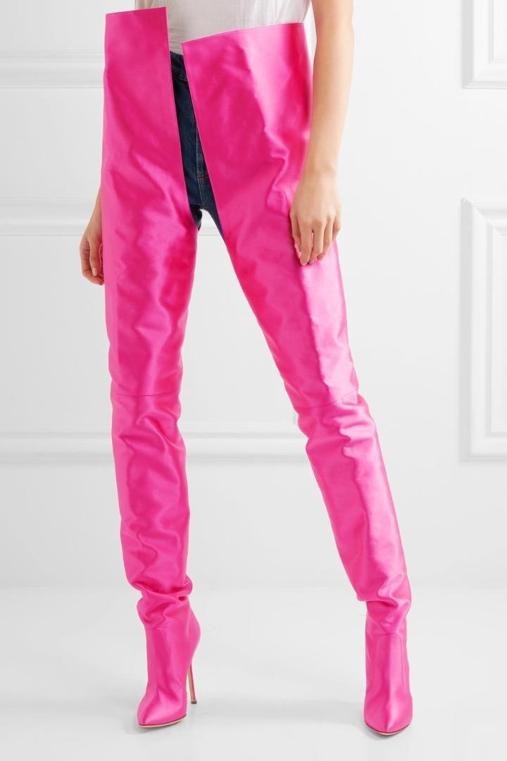 0499940459c Women Pointed Toe Over The Knee High Boots Ladies Slip On High Heel Bright  Orange Black Pink Purple Satin Waist Boots Fringe Boots Boot Socks From  Ipinkie