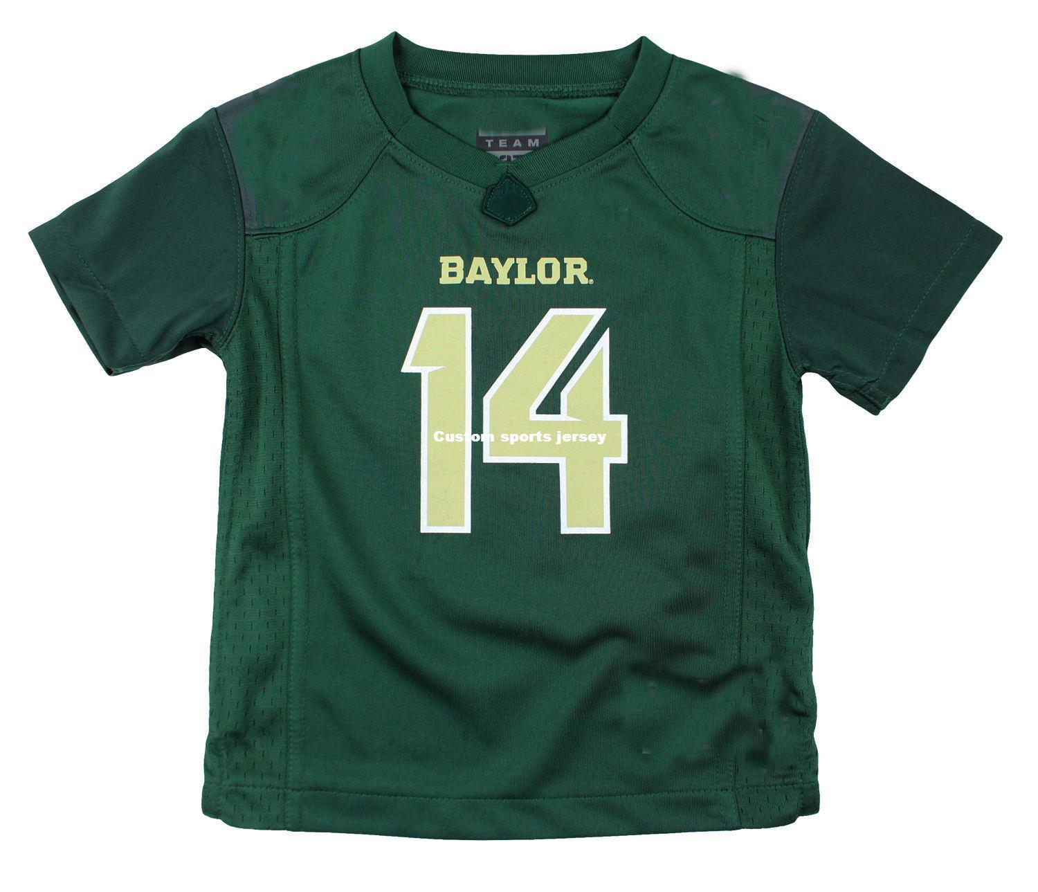separation shoes ec592 0cf62 Cheap custom NCAA College Baylor Bears # 14 Football Jersey Green  Customized Any name number Stitched Jersey XS-5XL