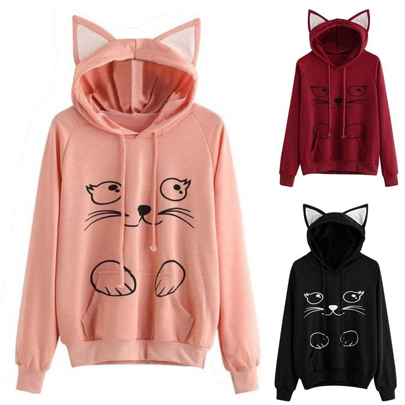 Women's Clothing Beautiful Lovely Cartoon Kitty Hoodies Women Popular Brand New Streetwear Fashion Tops Girls Cute Kitty Cat Sweatshirt