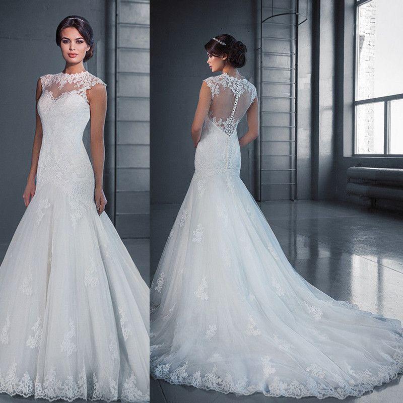 2018 Ins Sheer Lace Applique Mermaid Wedding Dresses Court Train ...