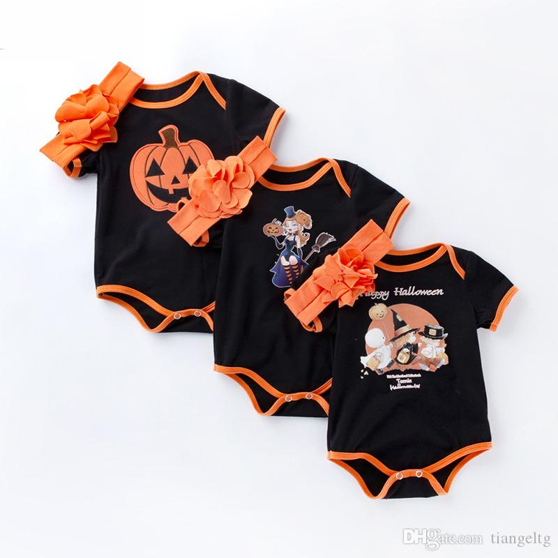 2018 newborn baby halloween clothes triangle rompers flower headband witch pumpkin bat deaths head ghost design boys girls infant onesies 0 24m from