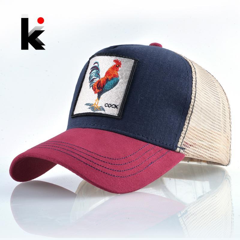 Top Fashion Baseball Cap For Men Women Summer Mesh Embroidery Cock ... 1f4b30178ffc
