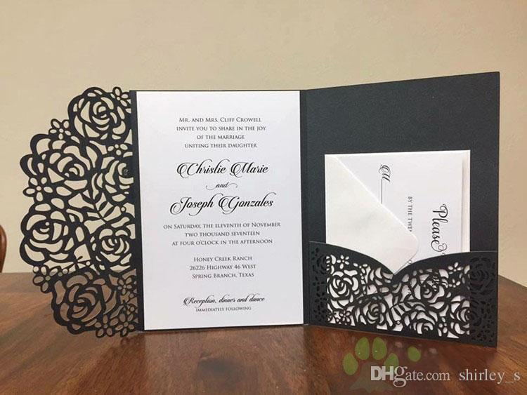 2018 affordable wedding invites laser cut pocket wedding invitation