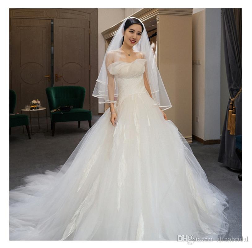 Vestidos de novia de tul blanco amor sin tirantes de encaje Una línea de vestido de novia moderno por encargo elegante vestido de tren de tren vestidos de novia de la boda