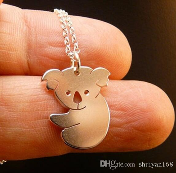 DHL Cute Animal Necklace Gold Silver Jewelry Cute Bear Necklace Tropical Animal Necklace Designs Jewelry Best Friends Gifts