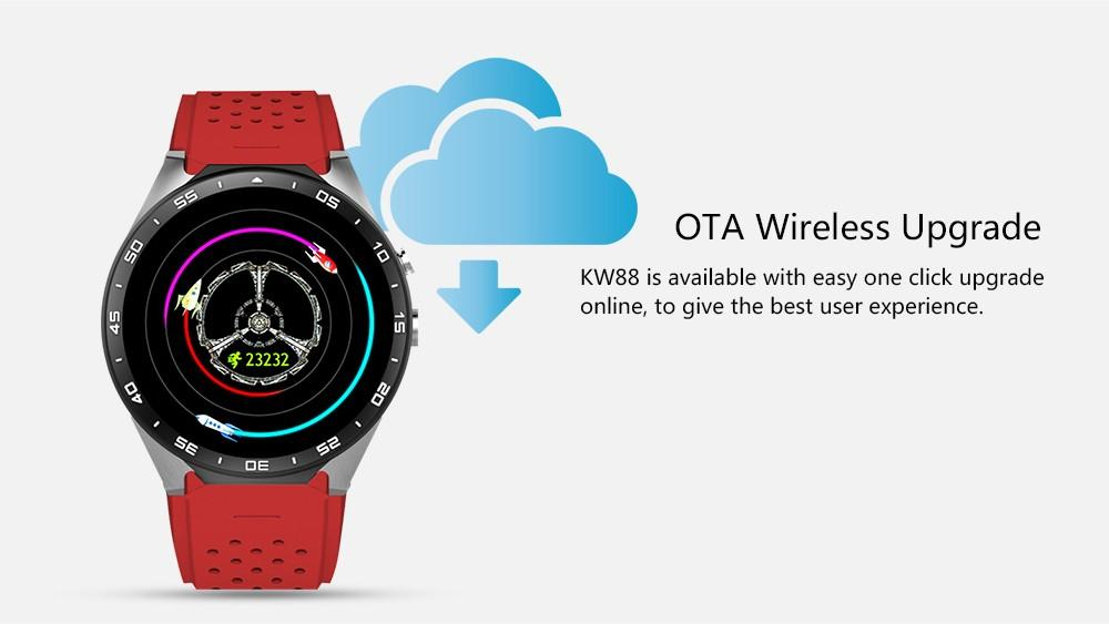 KingWear KW88 Android 5.1 1.39'' Screen 3G Smartwatch Phone MTK6580 Quad Core 512MB 4GB GPS Pedometer Smart Watch Men