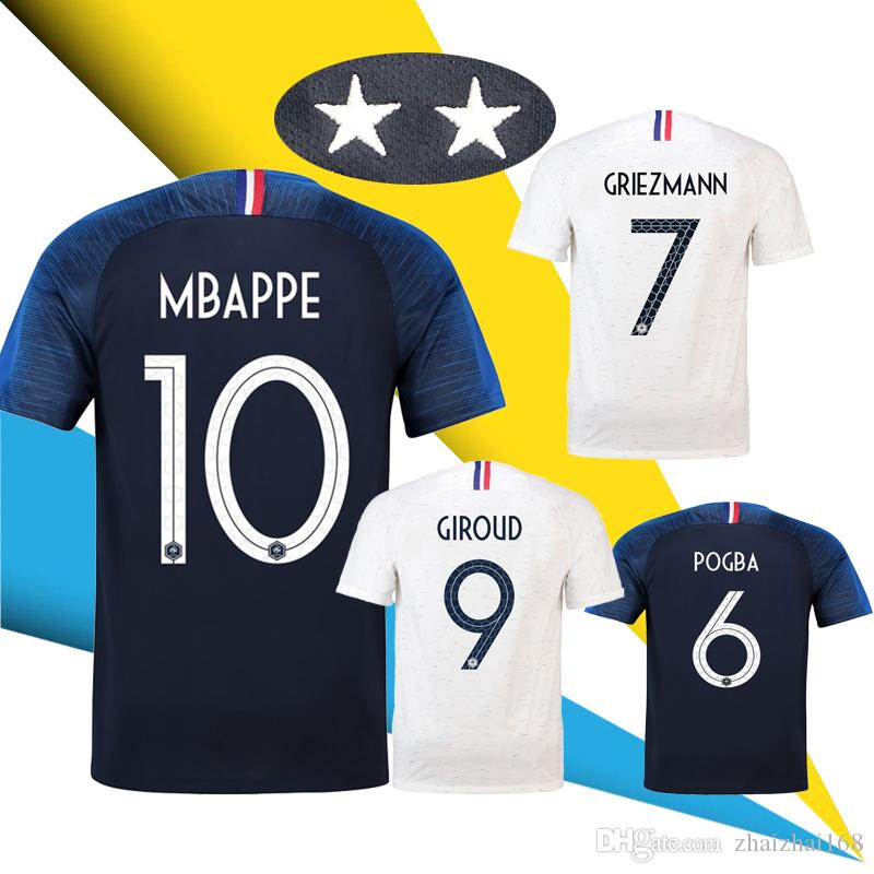 51ad9bfa2 2 Star GRIEZMANN MBAPPE POGBA French Soccer Jersey 2018 World Cup Shirt  Thailand DEMBELE MARTIAL Football Jersey Maillot De Foot 2018 2019 18 19  Online with ...