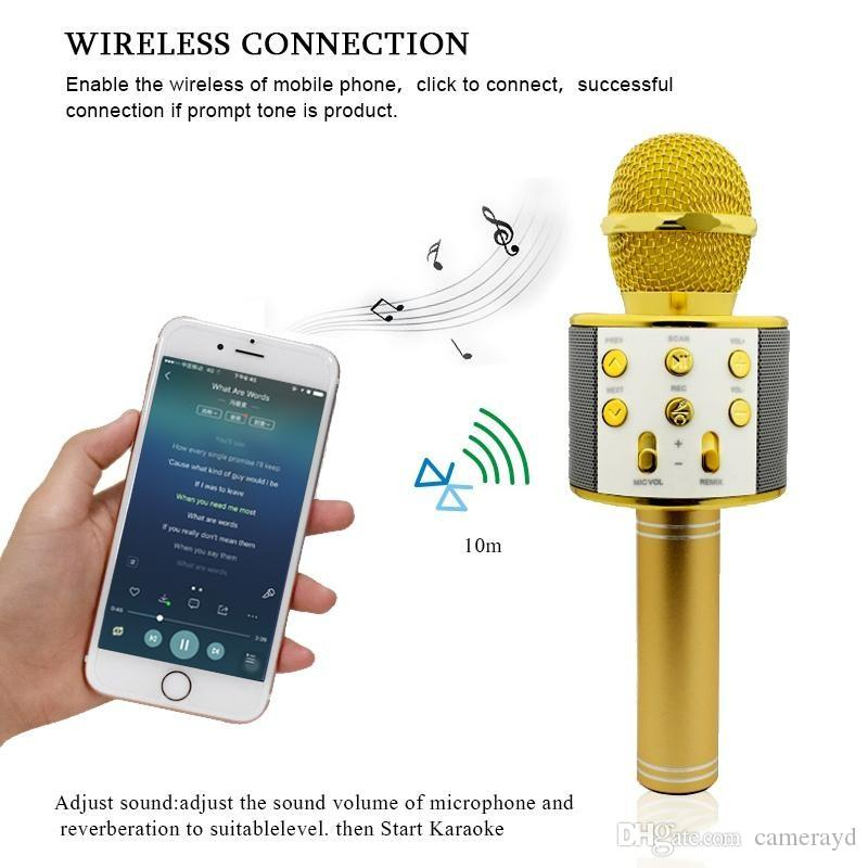858 Wireless Microphone Hifi Speaker Karaoke Sing Songs FM Radio Selfie USB Devices TF Card Record Songs for Android system Mobile Phone
