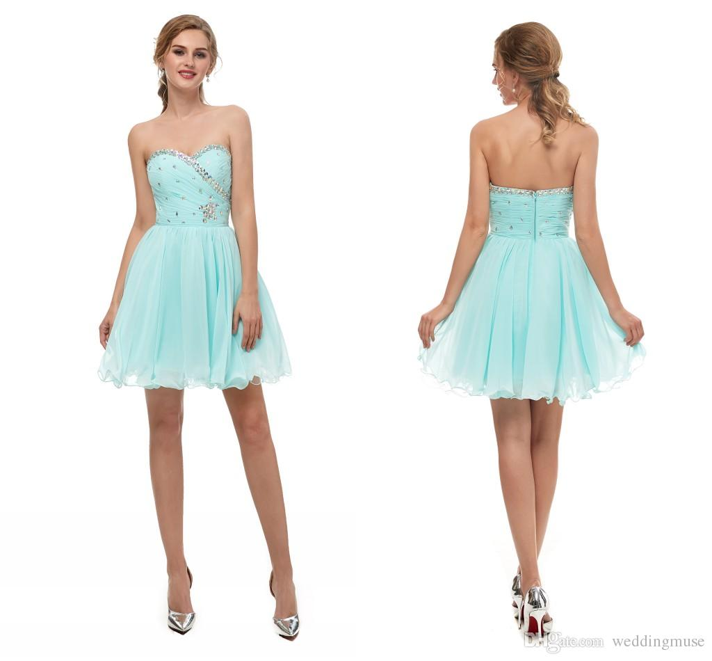 c696a082031 Short Chiffon Bridesmaid Dresses Mint Green A Line Junior Homecoming Dress  Beaded Country Style Maid Of Honor Wedding Party Dress Modest Bridesmaid  Dresses ...