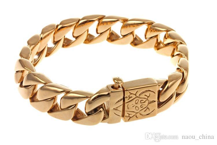 15mm Schwere Punk Rock Mens Jungen 18 Karat Gold silber Kubanischen Panzerkette Tone Armband 316L Edelstahl Armband armreif Schmuck