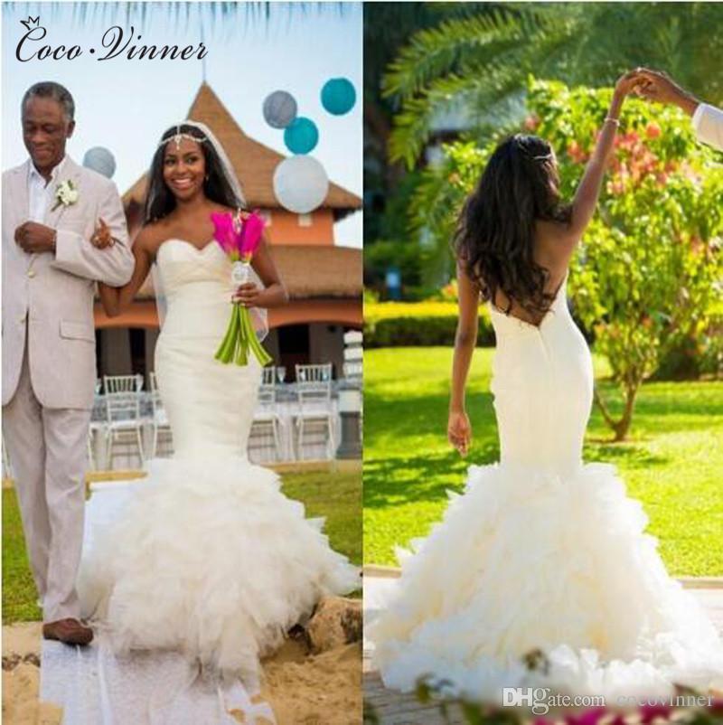C.V New Arrival African Style Plus Size Mermaid Wedding Dress Pure White  Color Sweatheart Long Train Puff Skirt Trumpet Wedding Dress W0295 Lace  Mermaid ... 30e3b474c6f0
